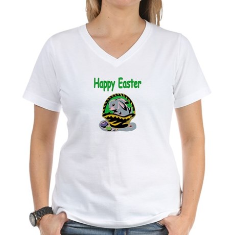 Happy Easter Basket Women's V-Neck T-Shirt