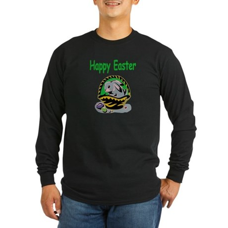 Happy Easter Basket Long Sleeve Dark T-Shirt