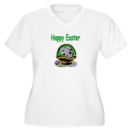 Happy Easter Basket Women's Plus Size V-Neck T-Shi