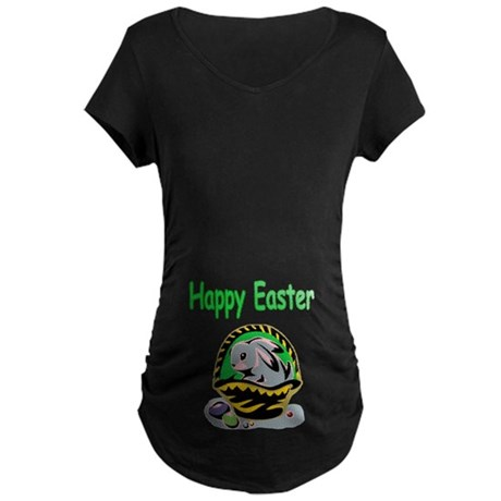 Happy Easter Basket Maternity Dark T-Shirt