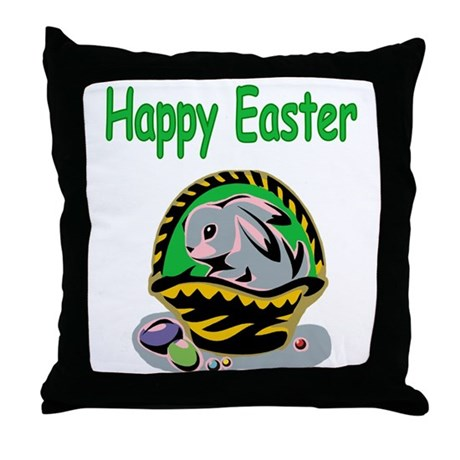 Happy Easter Basket Throw Pillow