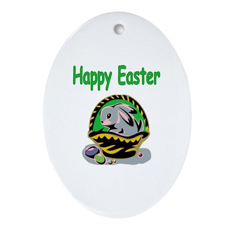 Happy Easter Basket Oval Ornament