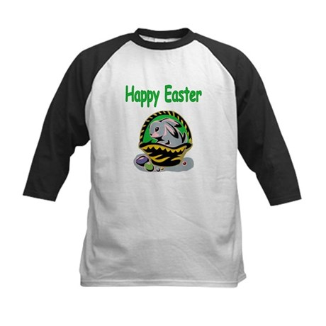 Happy Easter Basket Kids Baseball Jersey