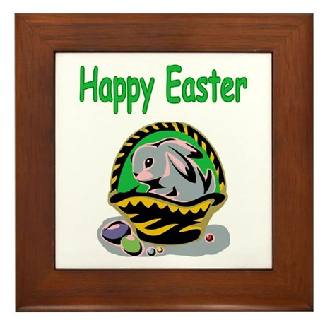 Happy Easter Basket Framed Tile