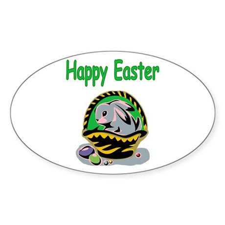 Happy Easter Basket Oval Sticker