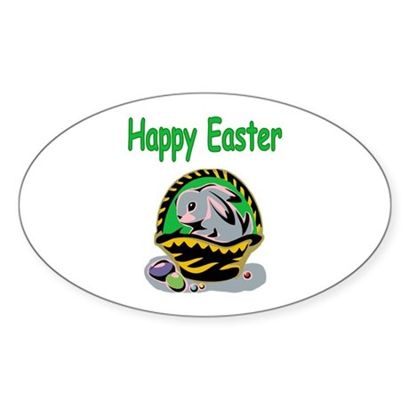 Happy Easter Basket Oval Sticker (50 pk)