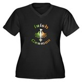 Irish German Women's Plus Size V-Neck Dark T-Shirt