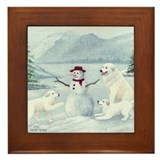 Great Pyrenees Framed Tile, Winterlake