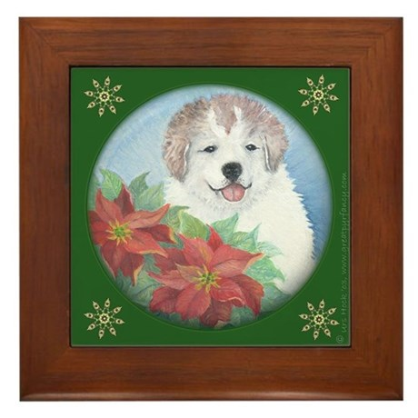 Great Pyrenees Framed Tile, Xmas Puppy