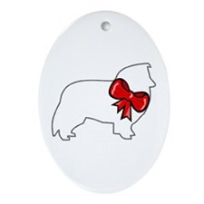 Holiday Sheltie Oval Ornament