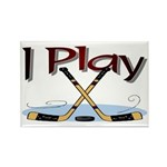 I Play Hockey Rectangle Magnet (10 pack)