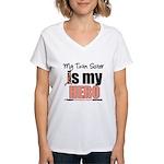 EndometrialCancerHeroTwin Women's V-Neck T-Shirt