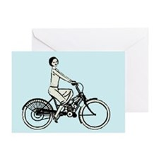 retro woman cylist Greeting Cards (Pk of 10)