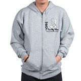 Lung Cancer Hero Ribbon Zip Hoodie