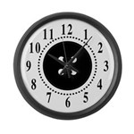 Black Button Large Numbers Large Wall Clock