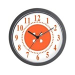 Orange Button Large Numbers Wall Clock