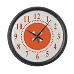 Orange Button Large Numbers Large Wall Clock