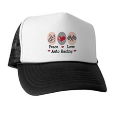 Peace Love Auto Racing Trucker Hat