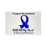 ColonCancerHeart Husband Rectangle Magnet (100 pac