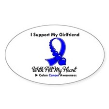 ColonCancerHeart Girlfriend Oval Sticker (10 pk)
