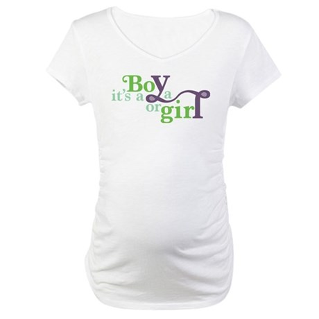 Green & Purple Boy or Girl Maternity T-Shirt