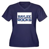 baylee rocks Women's Plus Size V-Neck Dark T-Shirt