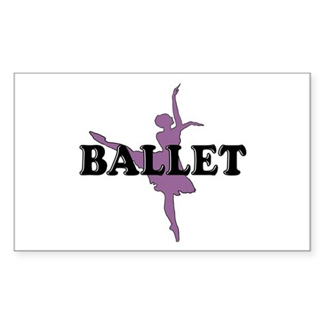 Female Ballet Silhouette Rectangle Sticker
