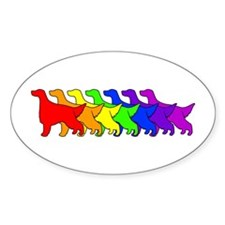Rainbow Irish Setter Oval Decal