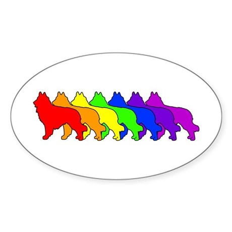 Rainbow Tervuren Oval Sticker