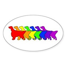 Rainbow English Setter Oval Decal