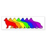 Rainbow German Shepherd Bumper Car Sticker