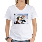 Snowball Fight Women's V-Neck T-Shirt