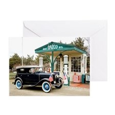Model A at gas station Greeting Cards