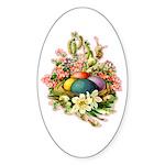 Springtime Easter Basket Oval Sticker (10 pk)