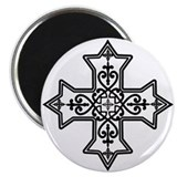 Black and White Coptic Cross 2.25&quot; Magnet (10 pack