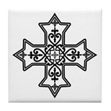 Black and White Coptic Cross Tile Coaster