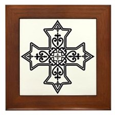 Black and White Coptic Cross Framed Tile