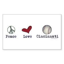oddFrogg Peace Love Cincinnati Rectangle Decal