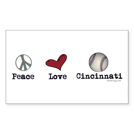 oddFrogg Peace Love Cincinnati Rectangle Sticker