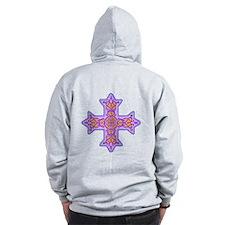 Violet Coptic Cross Zip Hoodie