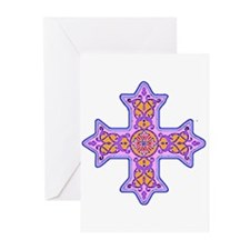 Violet Coptic Cross Greeting Cards (Pk of 10)