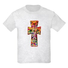 Pretty Stained Glass Look Cross T-Shirt