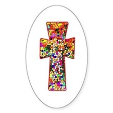 Pretty Stained Glass Look Cross Decal