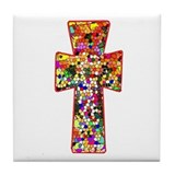 Pretty Stained Glass Look Cross Tile Coaster