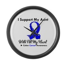 ColonCancerHeart Aunt Large Wall Clock