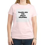 THANK GOD FOR GREAT GRANDMA Women's Pink T-Shirt