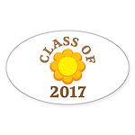 Sunflower Class Of 2017 Oval Sticker (10 pk)