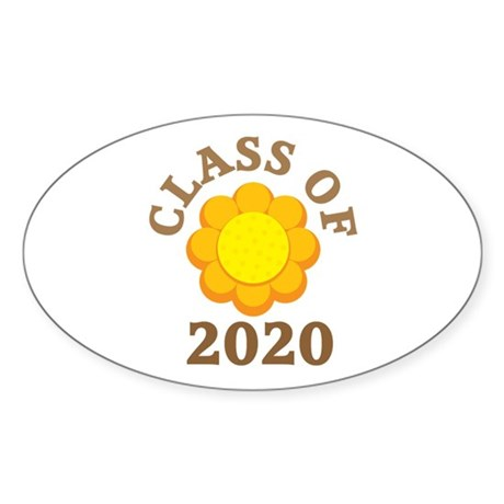 Sunflower Class Of 2020 Oval Sticker (10 pk)