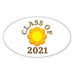 Sunflower Design Class Of 2021 Sticker (Oval 10 pk