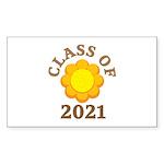 Sunflower Design Class Of 2021 Rectangle Sticker